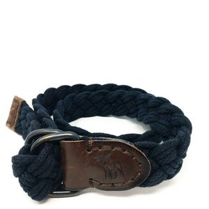 Abercrombie & Fitch Mens Braided Woven Belt NAVY